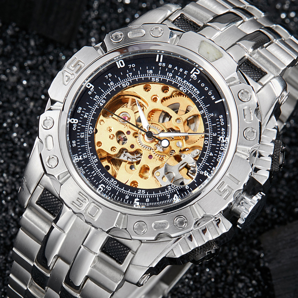 Luxury Automatic Mechanical Watch Men Full Steel Silver Gold Skeleton Wristwatch Clock Self-winding Big Dial Relogio Masculino