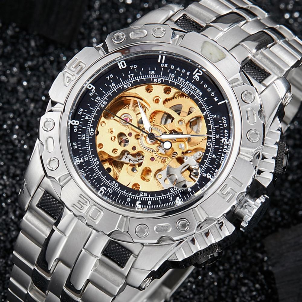 Luxury Automatic Mechanical Watch Men Full Steel Silver Gold Skeleton Wristwatch Clock Self-winding Big Dial Relogio Masculino