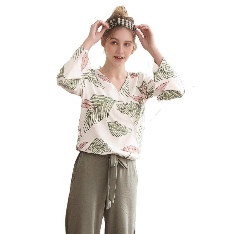 Pjs Beach Style Women Pajamas Set 2020 New Spring Trendy Pj Set Leisure Home Wear Lingerie Pajama 100% Cotton Floral Sleepwear