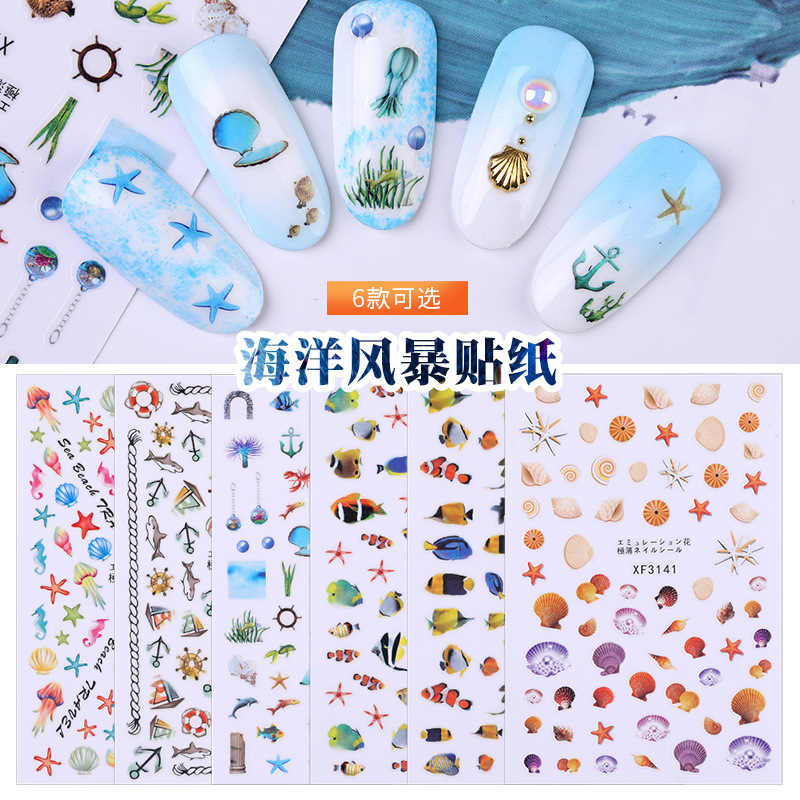 Hyuna Celebrity Style Nail Sticker Summer Wind Hipster Oceans Storm Series 3D Cartoon Accessories Nail Decals