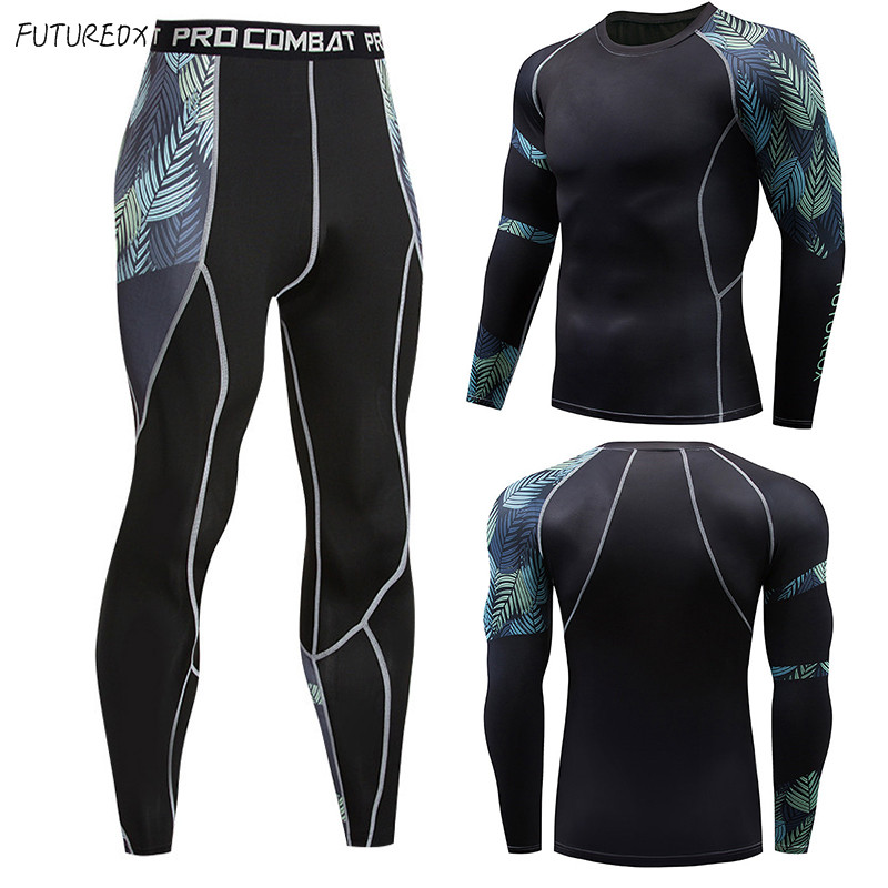 Hot Men's Exercise MMA Long Sleeve T-Shirt Men's Compression Shirt Fitness Bodybuilding Men's Sportswear Set Tops