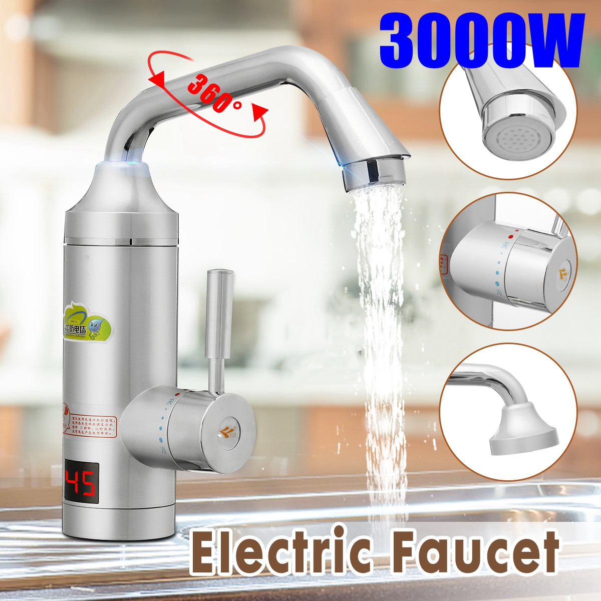 220V-250V 3000W Electric Kitchen Water Heater Tap Instant Hot Water Faucet Heater Cold Heating Faucet Instantaneous Water Heater