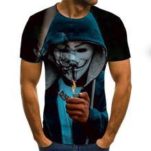 Camiseta de palhaço masculina/feminina, camiseta coringa facial 3d de terror com estampa