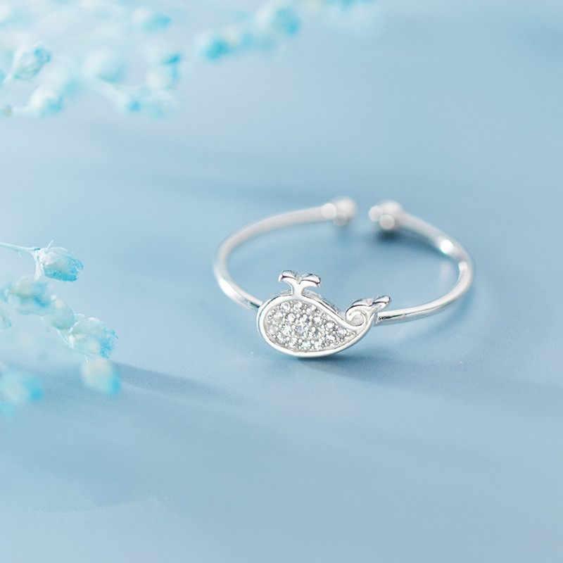 DAIWUJAN Micro pavé Zircon 925 argent Sterling baleine anneaux réglables pour les femmes filles mignon océan anneau ouvert bijoux de fête de mariage