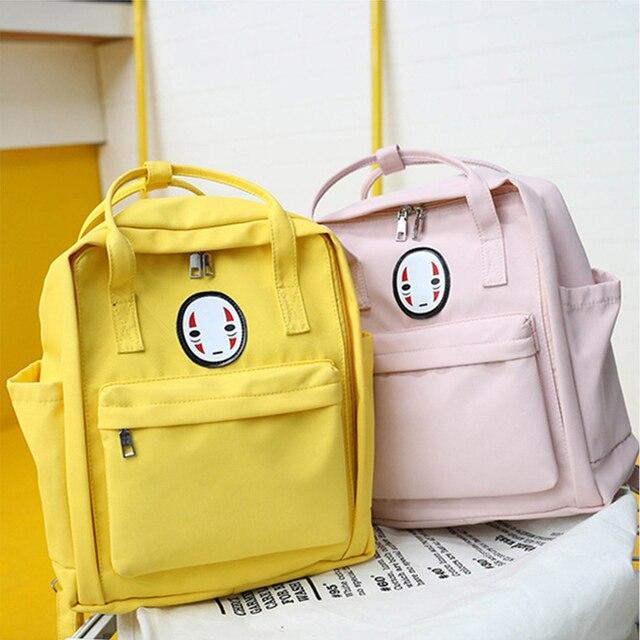 Harajuku Women's Backpack Laptop School Bags For Teenage Girls Spirited Away Casual Cute Rucksack Female Canvas Travel Backpacks 1