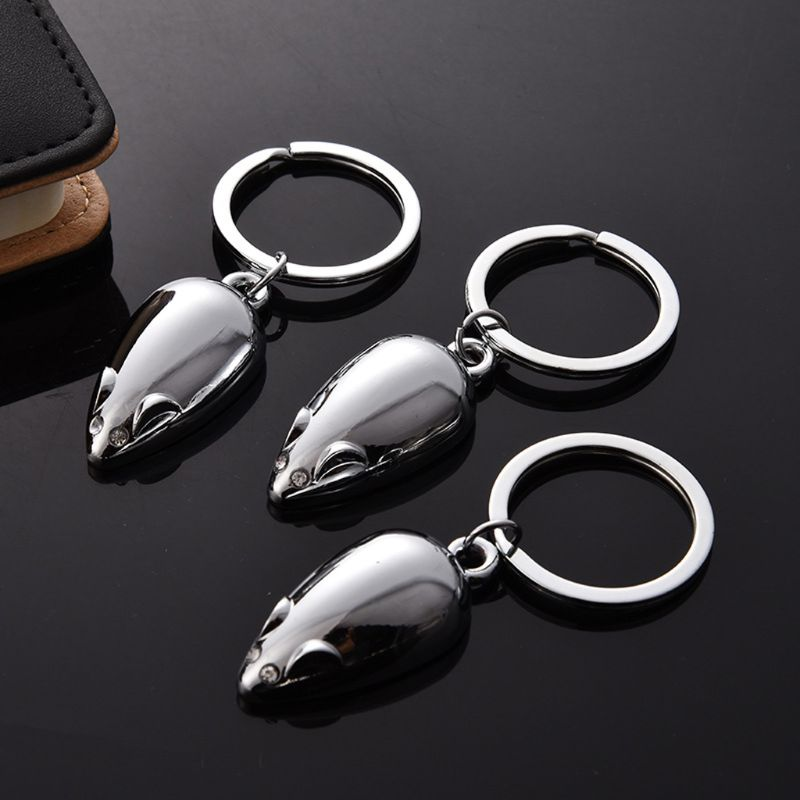 Cute Silver Soild Mouse 2020 New Year Gift Keyring Chinese Zodiac Animal Metal Keychain Lucky Wealth Bag Decor Jewelry