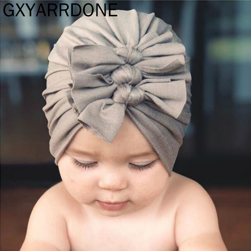 2019 Baby Cotton Turban Top Knot Hat Toddler Kids Boy Girl India Beanie Cap Lovely Soft Newborn Three Bows Headwear Accessories