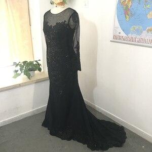 Image 2 - 黒イスラム教徒のイブニングドレス 2020 マーメイドロングスリーブアップリケレースビーズイスラムドバイサウジアラビアアラビアロングフォーマルイブニングガウン