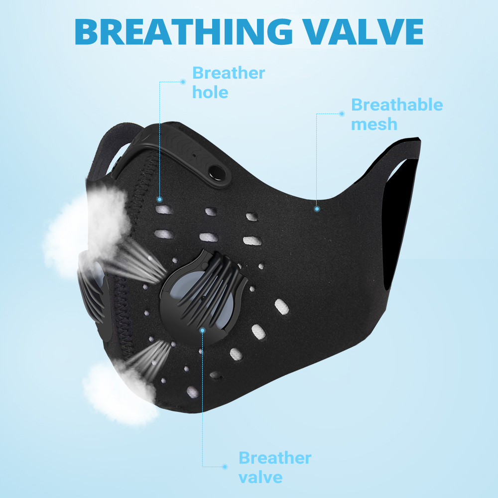 Motorcycle Face Mask Filter PM2.5 Dustproof Balaclava Breathable Anit-fog Moto Protection Face Shield Dust Mask Anti-droplet
