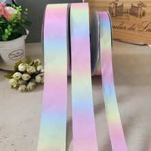 Fita de arco-íris com gradiente de cor, novidade, 5 jardas, 25mm 40mm 50mm, amarrador de cabelo, materiais de ornamento
