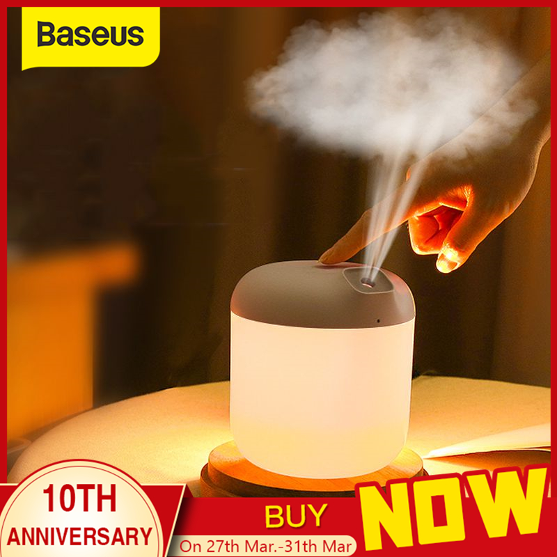 Baseus Air Humidifier Diffuser For Home Office 600 ML Ultrasonic Air Humidifier Humidificador Mist Maker Fogger With Night Lamp