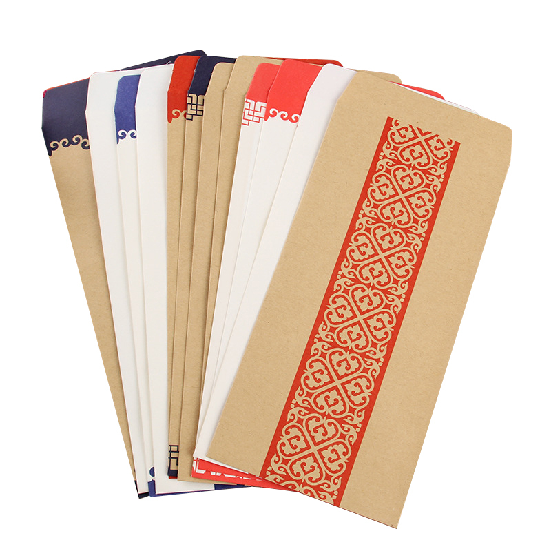 Graceful In National Wind Tradition Envelope Chinese Style Kraft Paper Red Grid Antiquity  10 Pieces Enter
