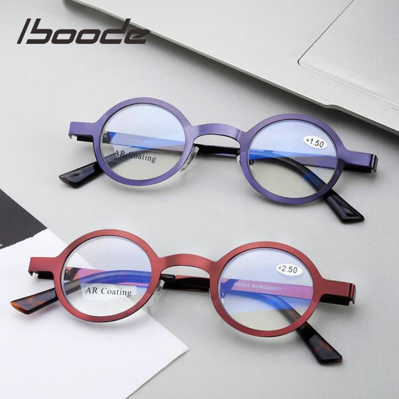 Iboode Small Round Metal Frame Reading Glasses Women Ladies Anti Blue Light Rays Blocking Presbyopia Farsighted Eyeglasses +1.50