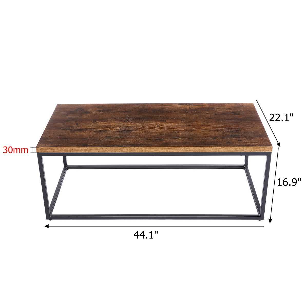 Modern Industrial Coffee Table Wood And Metal Frame Living Room