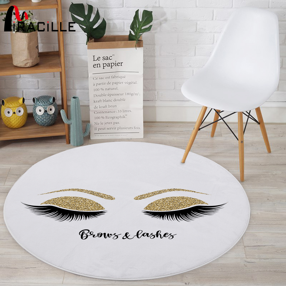 Miracille Fashion Eyelashes Soft Round Carpet Modern Home Decor Floor Rug Bedroom Anti-slip Play Mats For Children Chair