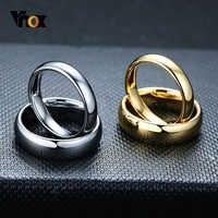 Vnox anti risco de tungstênio anéis de casamento para mulheres simples clássico casamento bandas para casais jóias básicas