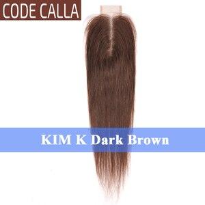 Image 5 - コードオランダカイウストレート 2*6 インチレースサイズキム K 閉鎖、マレーシアの Remy 人毛織りエクステンション自然な黒ダークブラウン色