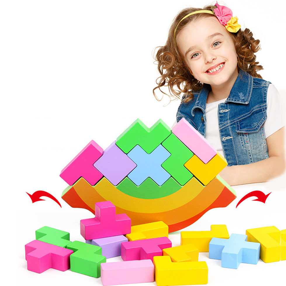 Wooden Rainbow 3D Puzzles Jigsaw Board Toys Tangram Brain Teaser Children Puzzle Tetris Game Educational Baby
