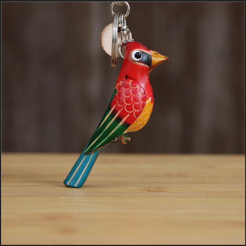 Bunter Vogel-Schlüsselanhänger aus echtem Leder, Schlüsselbund (ca. 8cm) Anhänger 2
