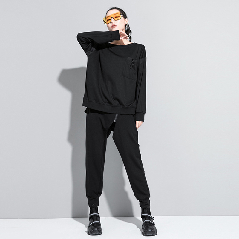 [EAM] Women Black Back Ribbon Split Joint Big Size T-shirt New Round Neck Long Sleeve  Fashion Tide  Spring Autumn 2020 1Z204 4