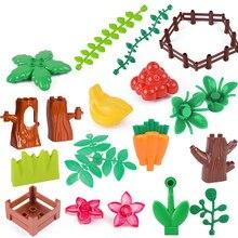 Tamanho grande blocos de construção grama videira folha planta peças flor uva banana árvore coto cerca tamanho grande brinquedos para crianças fazenda