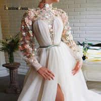Vestidos de Noche elegantes Bbonlinedress, apliques de encaje con cuello alto, vestido de noche Formal de corte alto, bata de talla grande de noche