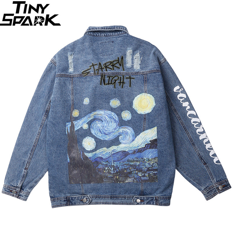 Vincent Van Gogh Streetwear Denim Jackets Hip Hop Men Vintage Ripped Holes Denim Jean Jacket Coat Harajuku Bomber Jacket Cotton