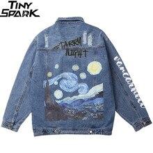 Vincent Van Gogh Streetwear Denim Jackets Hip Hop Men Vintage Ripped H