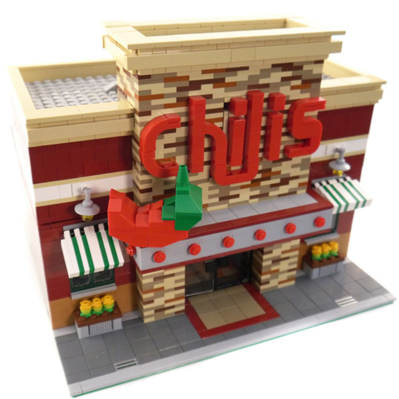 Toy Building-Block Legoinglys Street-View Restaurant Brick Model Room-Set City Town LINGTU