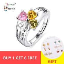 StrollGirl Engraved MOM Jewelry Mothers Love and Luck Birthstones Ring 925 Sterling Sliver Custom Name Rings For Her Gifts New