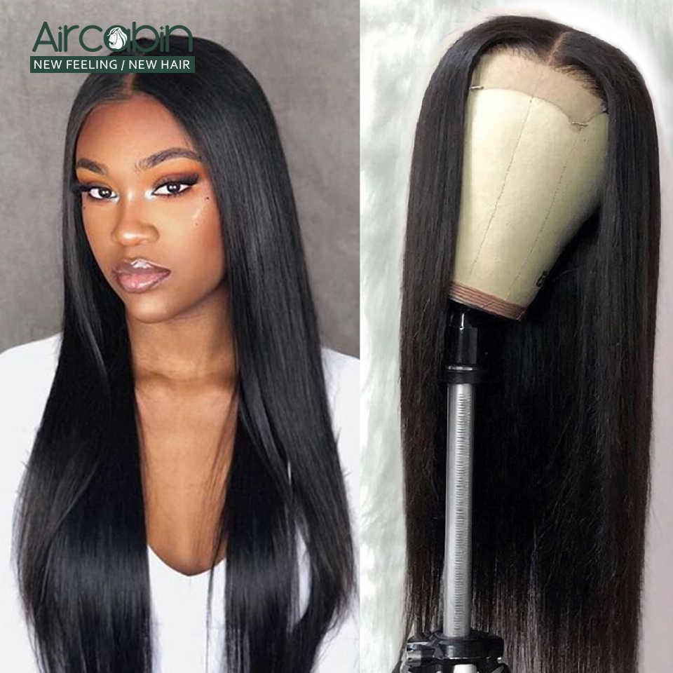 Aircabin 4x4 zamknięcie koronki peruki brazylijski proste włosy ludzkie peruka 8-26 Cal nie Remy dla czarnych kobiet wstępnie oskubane bielone węzłów