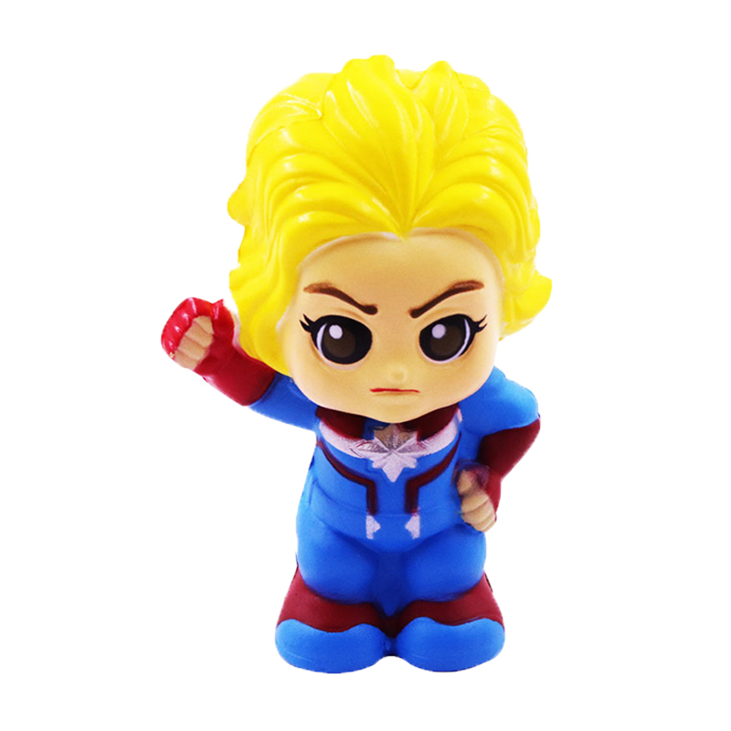 Jumbo Super Hero Squishy Kawaii Spiderman Captain Marvel Slow Rising Soft Squeeze Toys Stress Relief For Kid Fun Gift Toy
