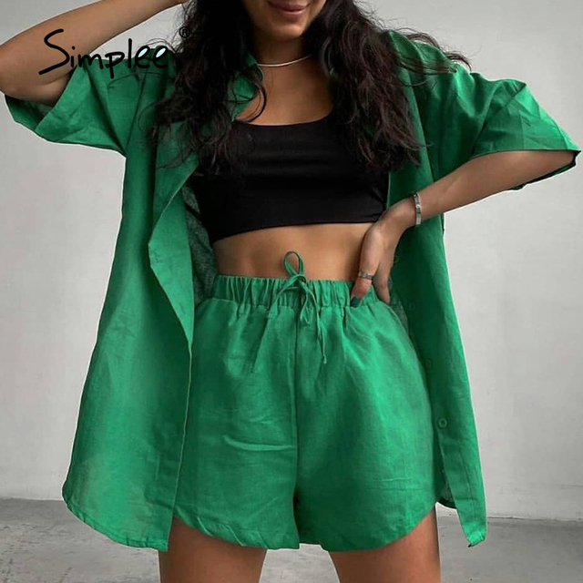 Simplee Casual lace up short sleeve summer set women  Loose button two-piece sport sets  Elastic waist lapel fitness tracksuits 3