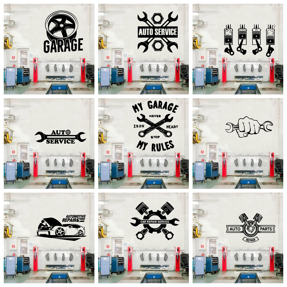 Creative My Garage Wall Stickers Creative For Car Repair Room Decor Accessories Commercial Wallproof Mural