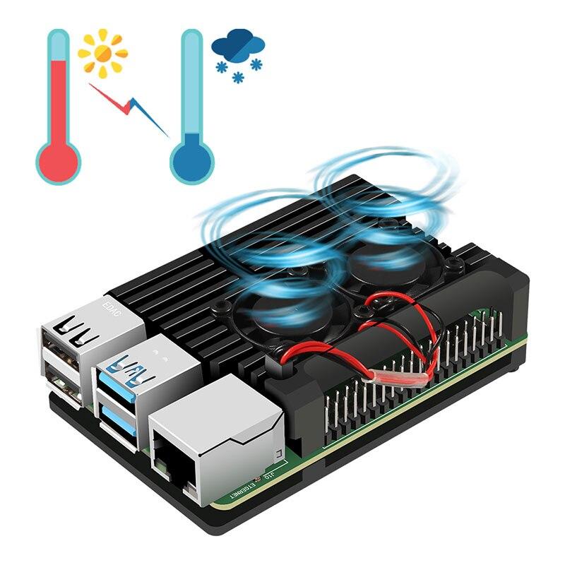 2019 высококачественный охлаждающий чехол из алюминиевого сплава для модели Raspberry Pi 4B С двумя охлаждающими вентиляторами для модели Raspberry Pi 2B ...