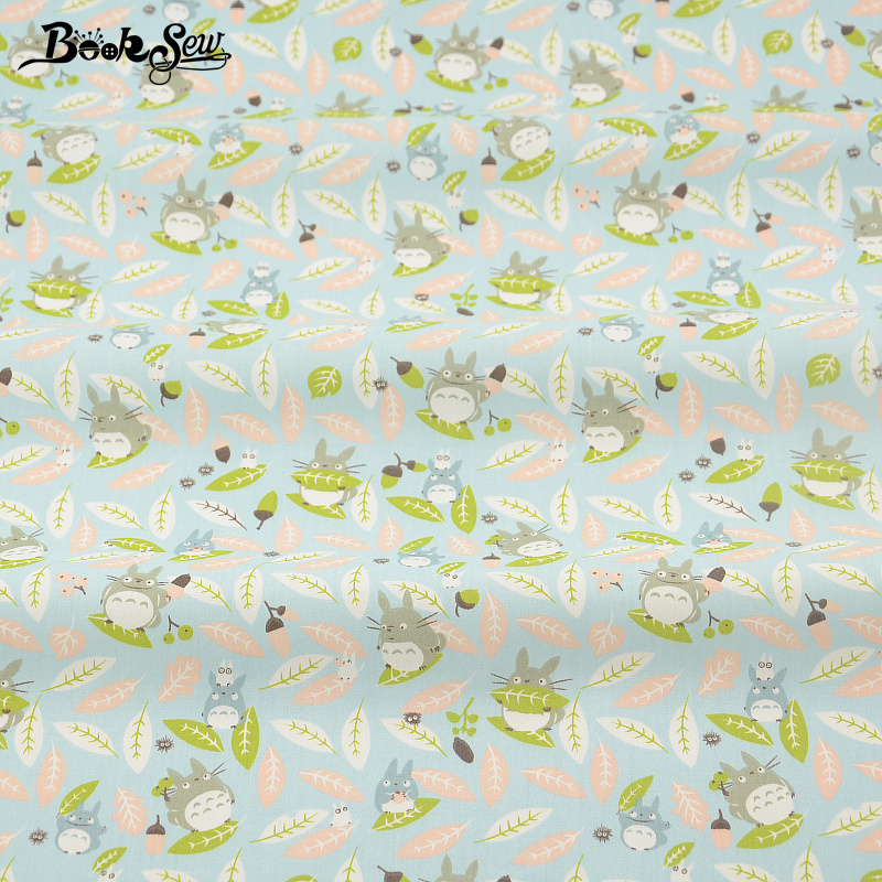 Booksew 100% Cotton Twill Fabric Animal Totoro Patterns Design Blue Textile Material For Dolls Telas De Algodon Para Patchwork