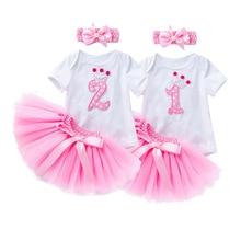 Платье для маленьких девочек 1st 2nd на день рождения, комплект одежды с юбкой-пачкой + повязка на голову, детская одежда для детей на Рождество ...