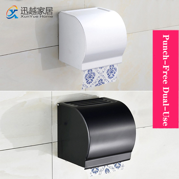 Tissue Stand Box Punch-Free Wall Paper Holder Aluminum Waterproof Roll Tray Bathroom Over The Toilet  00PH0601 Storage Shelf недорого