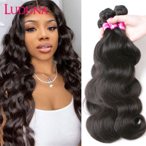 Luduna Hair Body Wave Bundles Brazilian Hair Weave Bundles 150% Human Hair weave 1/3/4 Piece Non-remy Hair For Black Woman(China)