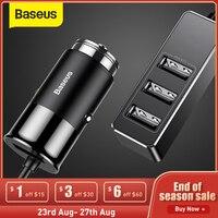 Baseus-cargador de coche con 4 USB, 5V, 5A, carga rápida, para iPhone, iPad, Samsung, Xiaomi, tableta, adaptador GPS, cargador de teléfono para coche