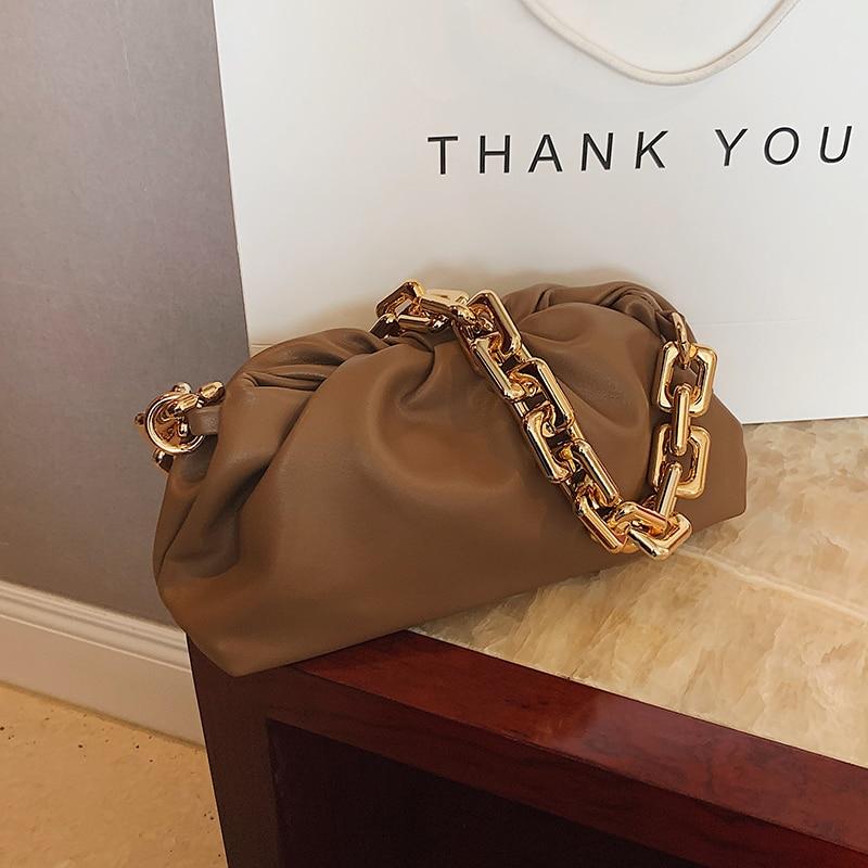 Solid Color Pleated Tote Bag 2021 Fashion New High-quality Soft Leather Women's Designer Handbag Travel Shoulder Bags Armpit Bag 3