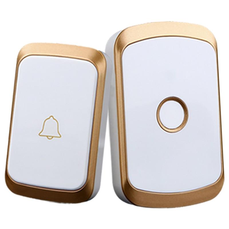 FFYY-Wireless Doorbell Ac 110-220V Smart Digital Waterproof Push Button Doorbell 36 Melody 4 Volume Cordless Door Ring Us Plug