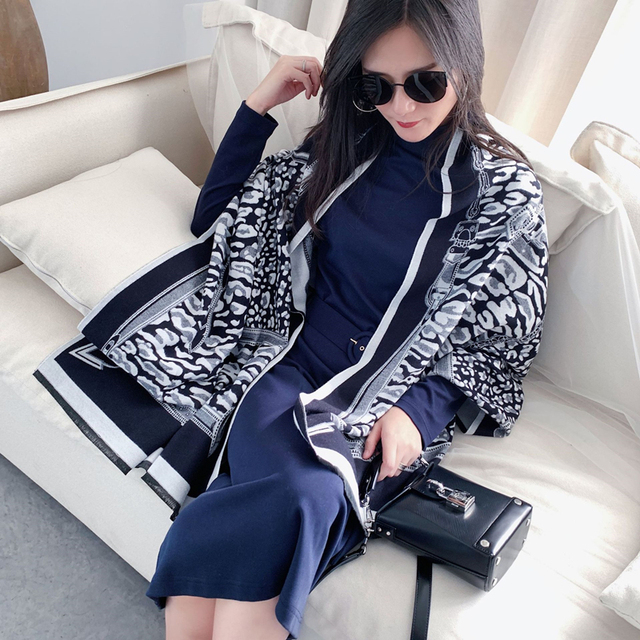 Leopard Print Winter Cashmere Scarf Women 2020 New Thick Warm Shawls and Wraps Summer Office Lady Air Conditioner Ppashmina