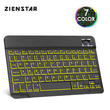 цена на Zienstar Slim Rechargeable Wireless Bluetooth KEYBOARD with7 Colors LED BackLight for IPAD/Iphone/Mac/LAPTOP/DESKTOP PC/TABLET