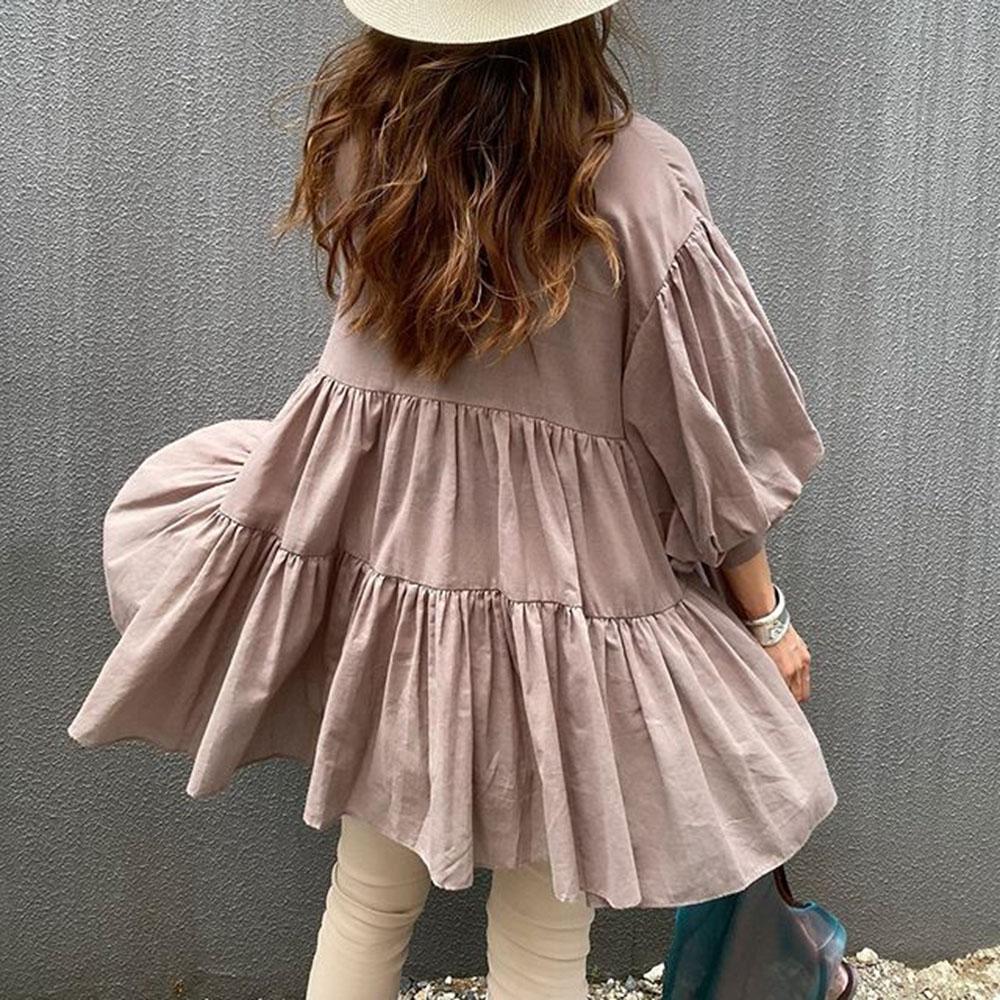 Японский Свежий Дамы Блузка Свободные Повседневная Уличная Одежда Рубашки Корейский Стиль Сплошной Женщины Топы 2020 Моды Осень Девять Очков Рукав