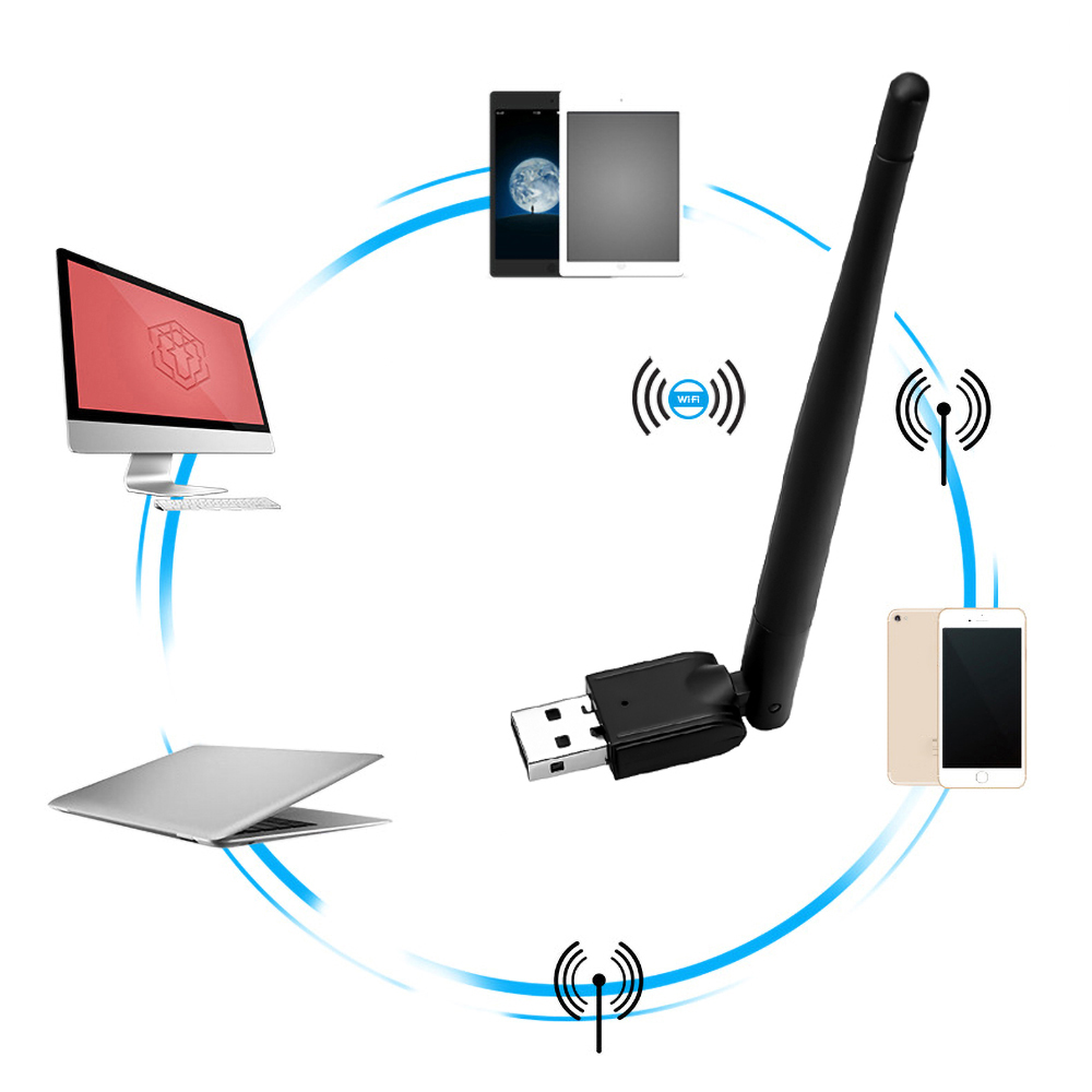 MT-7601 150M USB 2.0 WiFi Wireless Network Card 802.11 B/g/n LAN Adapter With Rotatable Antenna For Laptop