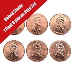 Монеты США 1 цент, набор из 6 предметов, американская оригинальная монета, оригинальные монеты Unc в память о рождении президента