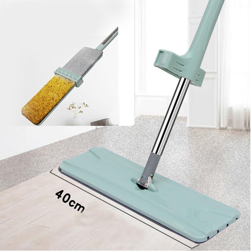 Fregona de piso con giro libre lavado a mano fregona plana trapo para Limpieza perezoso Hogar almohadilla de microfibra Limpieza de casa cocina fregona inteligente