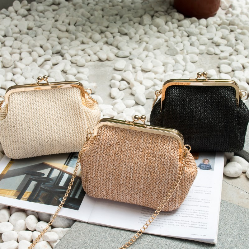 Fashion Shoulder Bag Summer Beach Women Crossbody Bag Kiss Lock Straw Messenger Bag Woven Chain Shoulder Bag For Women  Travel