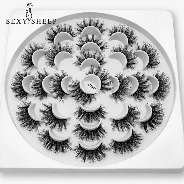 SEXYSHEEP 8/13 זוגות פו 3D מינק ריסים טבעי ארוכים נפח מזויפים איפור הארכת ריסים maquiagem